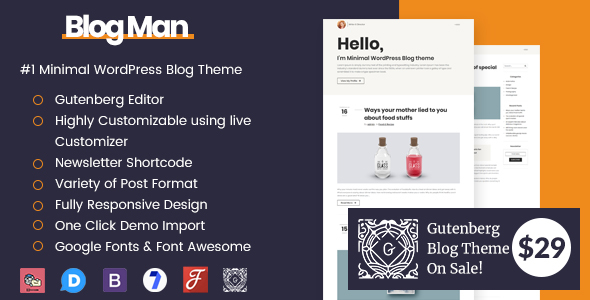 Blogman - Minimal WordPress Blog Theme - Personal Blog / Magazine