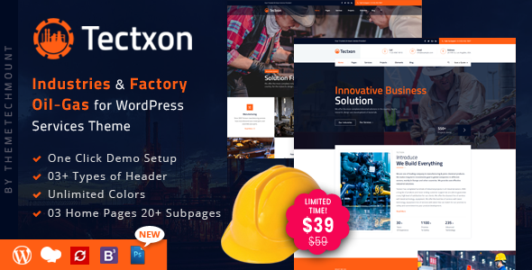 Tectxon - Industry & Factory WordPress Theme - Business Corporate