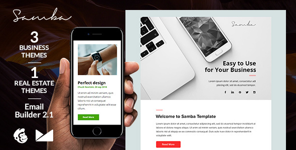 Samba - 3 Business & 1 RealEstate Email Templates + Online Emailbuilder 2.1 - Newsletters Email Templates