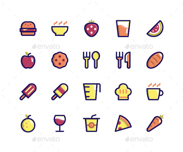 Food & Drink Filled Line Icons - Food Objects