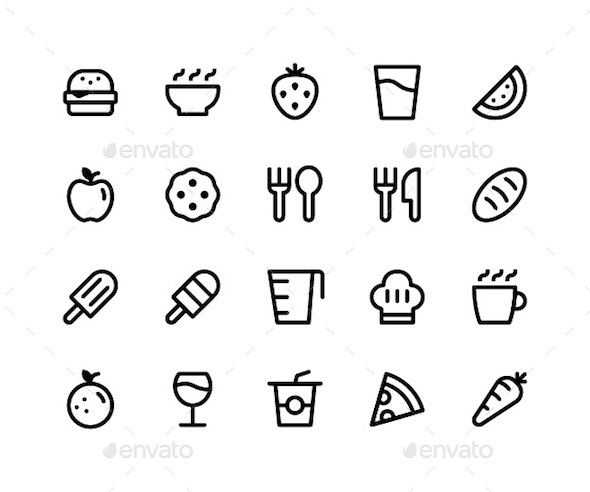 Food & Drink Line Icons - Food Objects