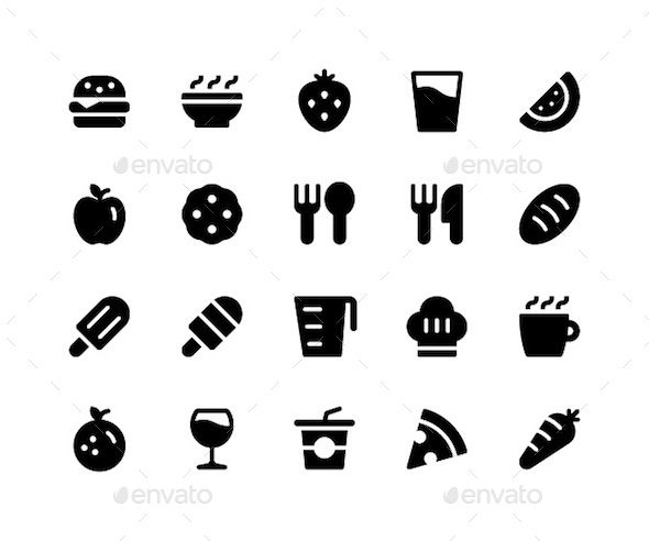 Food & Drink Glyph Icons - Food Objects