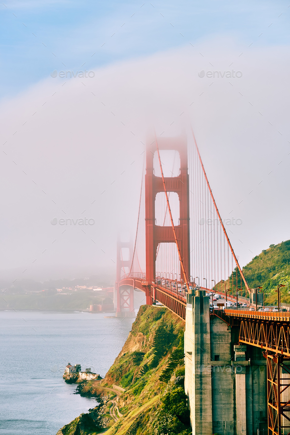 Golden Gate Bridge view at foggy morning - Stock Photo - Images