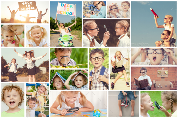 Happy children playing outdoors at the day time. - Stock Photo - Images