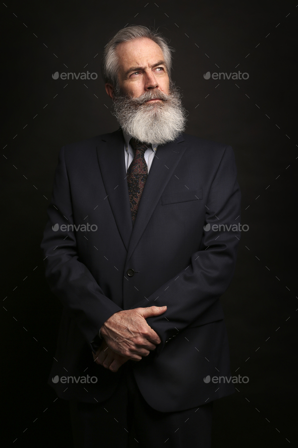 mature male model wearing suit with grey hairstyle and beard - Stock Photo - Images