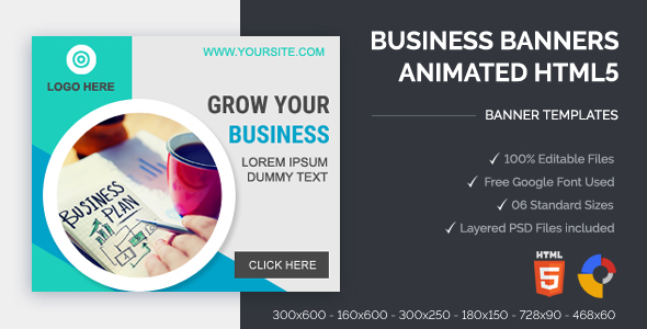 Business Banners Animated HTML5 Banner Ads (GWD)            Nulled