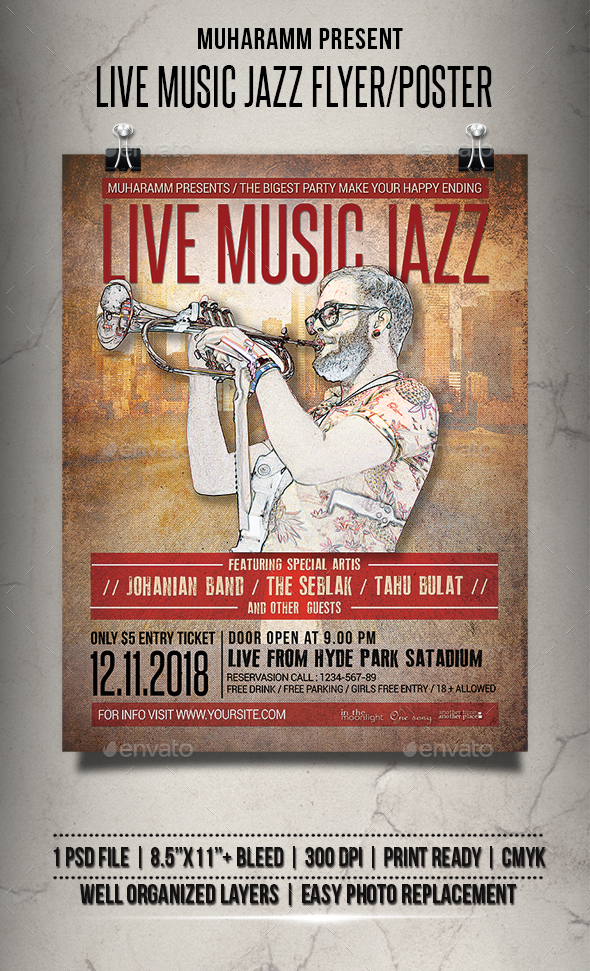 Live Music Jazz Flyer / Poster - Events Flyers