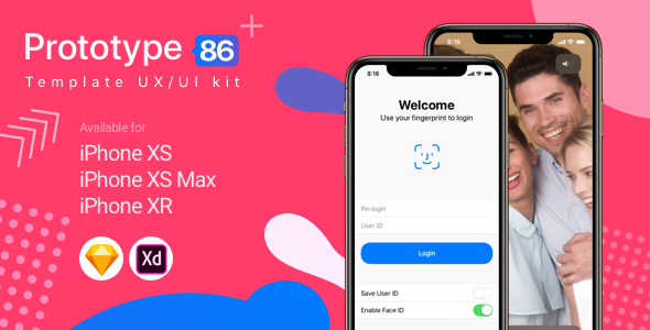 Prototype 86 Template UX/UI Kit - Sketch Templates