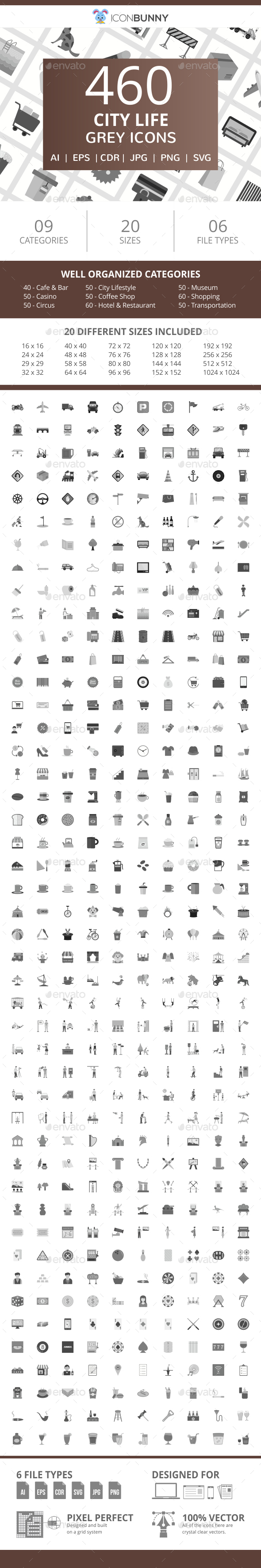 460 City Life Flat Greyscale Icons - Icons