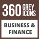 360 Business & Finance Flat Greyscale Icons - GraphicRiver Item for Sale