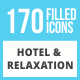 170 Hotel & Relaxation Filled Low Poly Icons - GraphicRiver Item for Sale