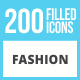 200 Fashion Filled Low Poly Icons - GraphicRiver Item for Sale