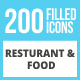 200 Restaurant & Food Filled Low Poly Icons - GraphicRiver Item for Sale