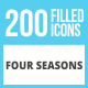 200 Four Seasons Filled Low Poly Icons - GraphicRiver Item for Sale