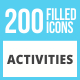 200 Activities Filled Low Poly Icons - GraphicRiver Item for Sale
