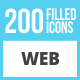 200 Web Filled Low Poly Icons - GraphicRiver Item for Sale