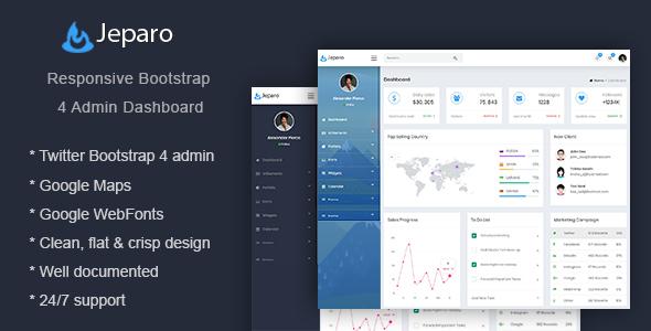 Jeparo - Responsive Bootstrap 4 Admin Dashboard