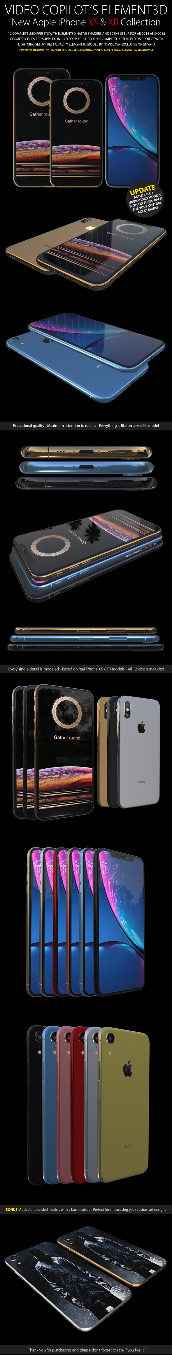 Element3D - iPhone XS & XR Collection - 3DOcean Item for Sale