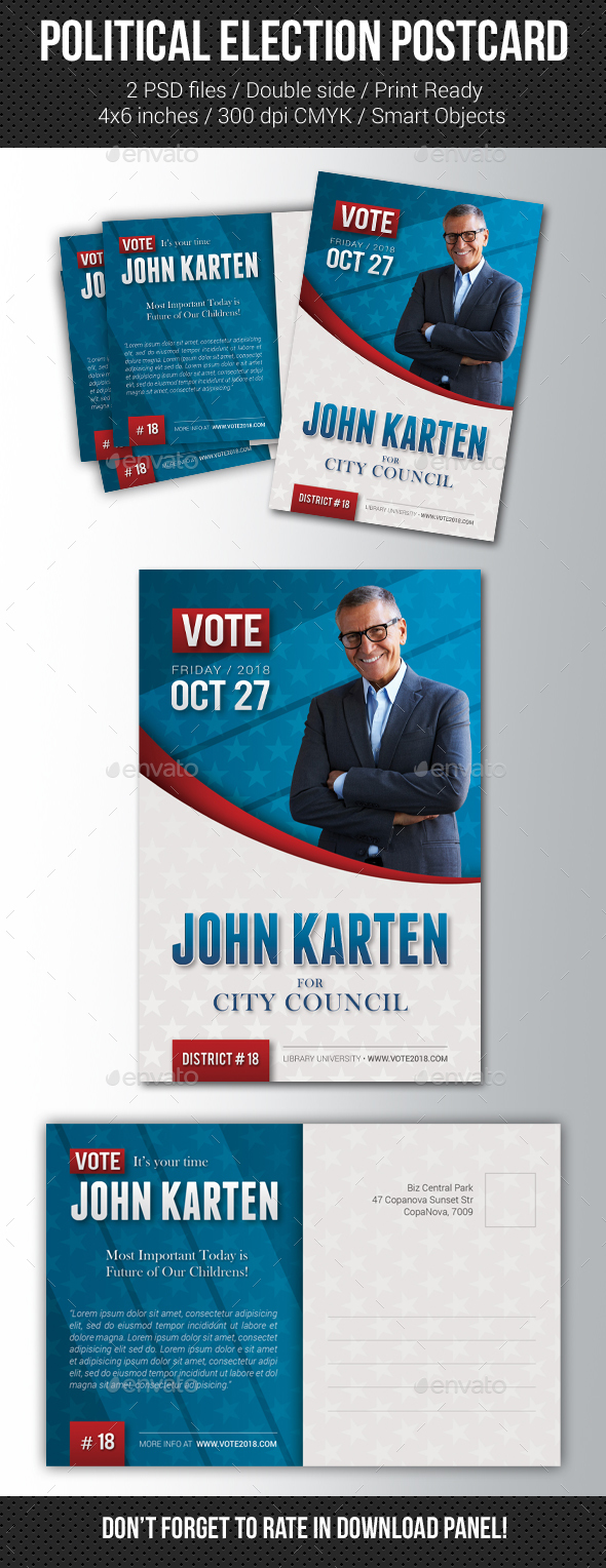 Political Election Mailer Postcard - Cards & Invites Print Templates