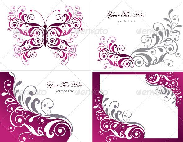 Floral Graphics Design Elements - Flourishes / Swirls Decorative