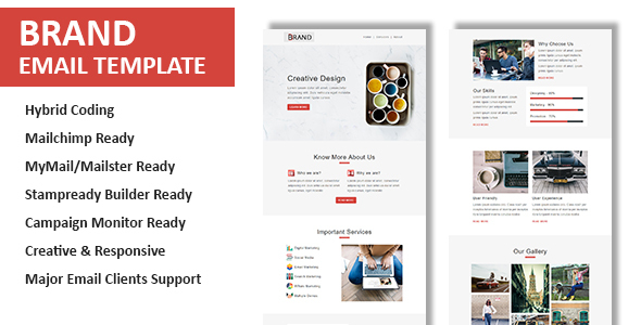 Brand - Multipurpose Responsive Email Template with Online StampReady Builder & Mailchimp Builder - Newsletters Email Templates