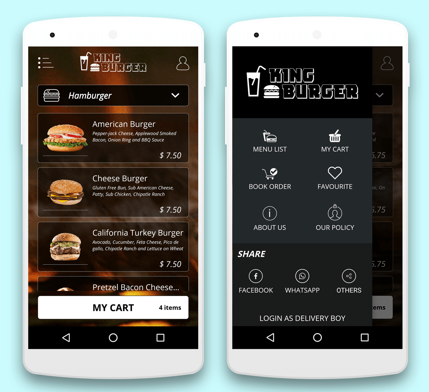 KING BURGER restaurant with Ingredients & delivery boy full android  application