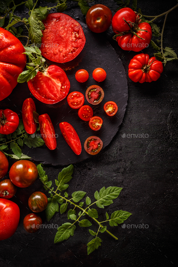 Fresh red sliced tomatoes - Stock Photo - Images