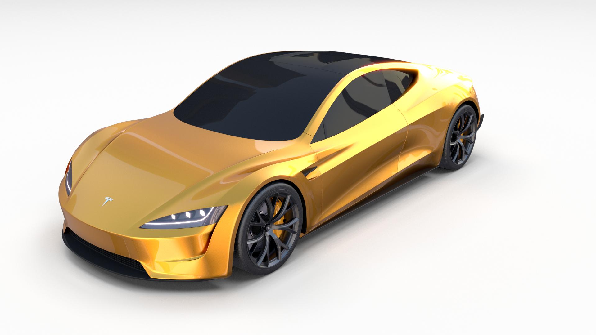 Tesla Roadster Yellow By Dragosburian 3docean