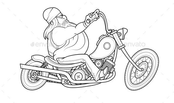 Biker Ride at Motorcycle - People Characters