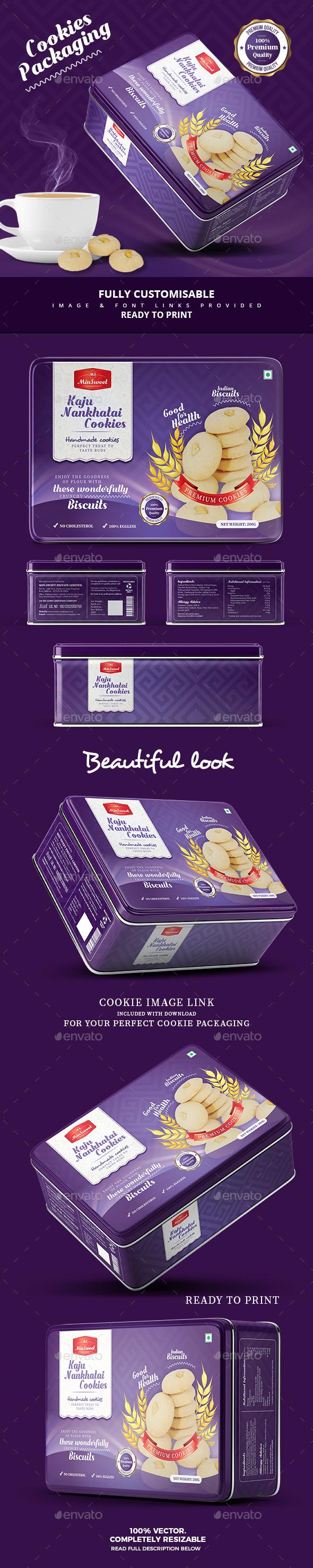 Premium Cookies Packaging - Packaging Print Templates