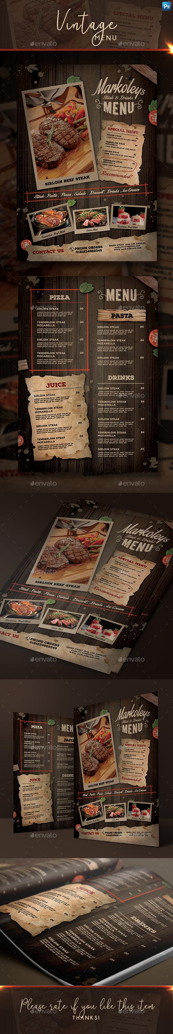 Rustic Cafe Menu