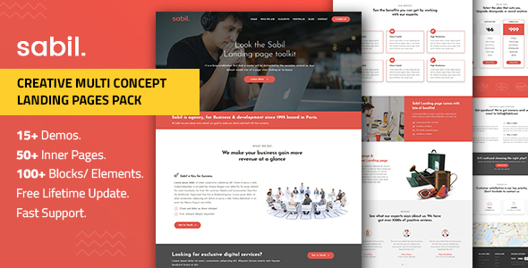 Multipurpose Bootstrap Landing Page Templates — Sabil by Divine-Store