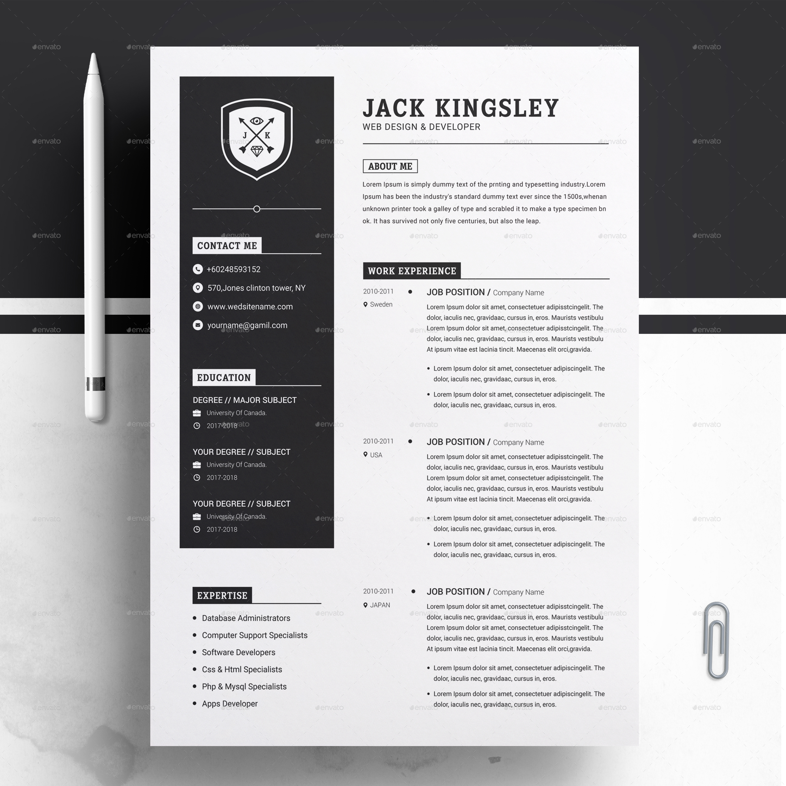 minimalist resume    cv template by resumeinventor