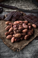 pile of cocoa seeds on rustic sackcloth in dark stage - PhotoDune Item for Sale