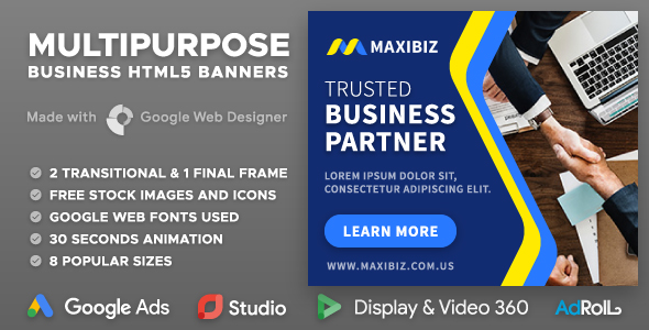 Maxibiz - Multipurpose Business HTML5 Banners (GWD)            Nulled