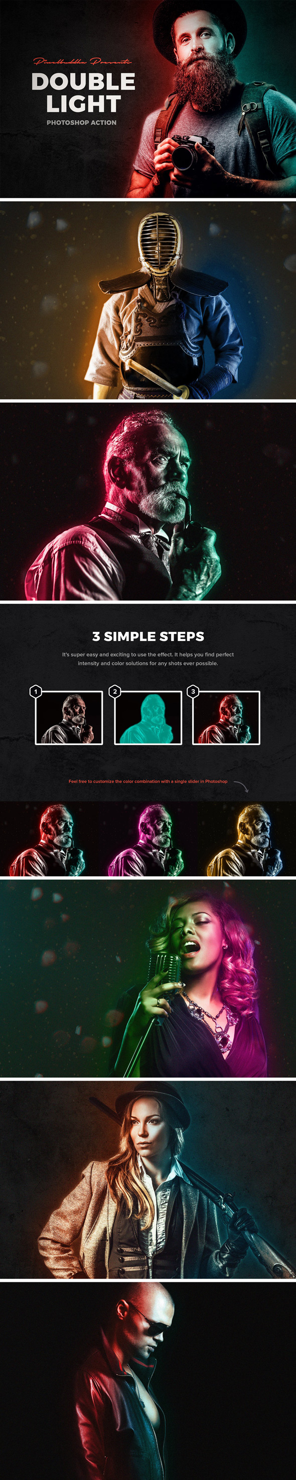 Double Light Photoshop Action - Photo Effects Actions