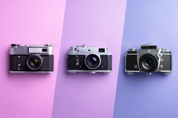 Multiple vintage cameras - Stock Photo - Images