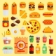 Cartoon Fast Food Vector Cuisine Burger and Pizza - GraphicRiver Item for Sale