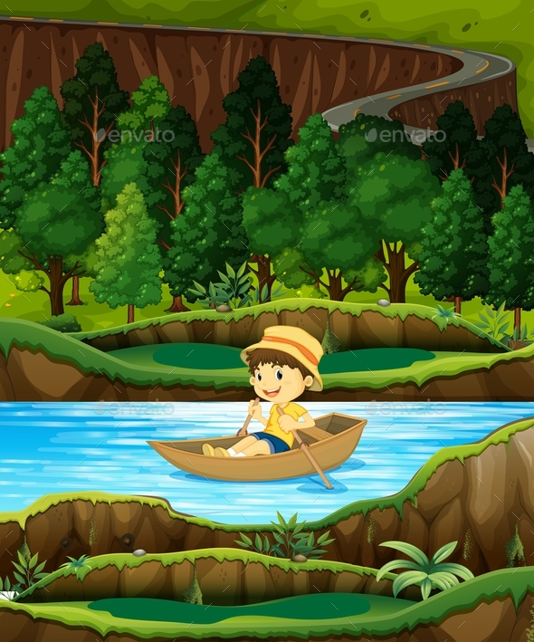 Boy In A Row Boat On A Stream - Characters Vectors