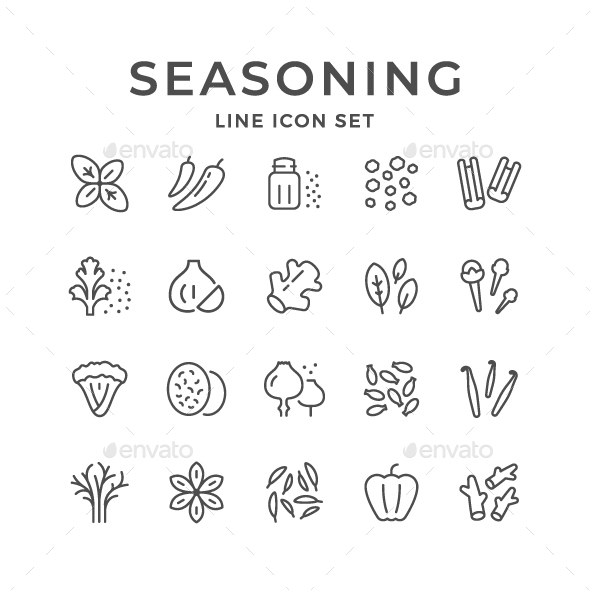 Set Line Icons of Seasoning - Man-made objects Objects