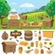Apiary Farm Vector Honey Making Icons Illustration - GraphicRiver Item for Sale