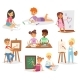 Artist Vector Kids Children Painting Making Art - GraphicRiver Item for Sale