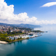 Aerial view of Ouchy waterfront in  Lausanne, Switzerland - PhotoDune Item for Sale