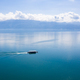 Aerial view of boat leaving Ouchy waterfront in  Lausanne, Switz - PhotoDune Item for Sale