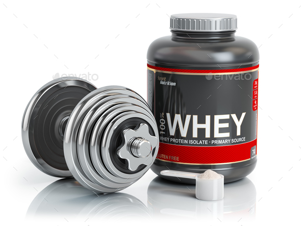 Whey protein powder  with scoop and dumbbell.Bodybuilder nutriti - Stock Photo - Images
