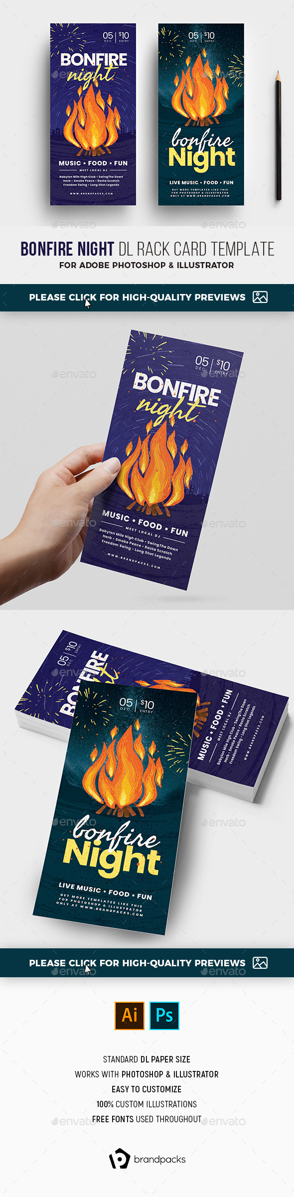 Bonfire Night DL Card - Holidays Events