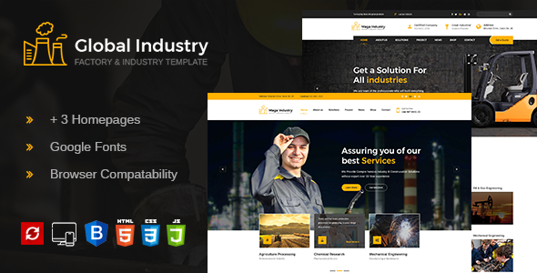 Global Industry- Factory & Industry HTML Template - Business Corporate