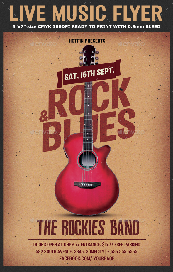 Live Music Flyer Template By Hotpin