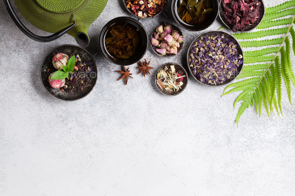 Various tea and teapot. Black, green and red tea - Stock Photo - Images