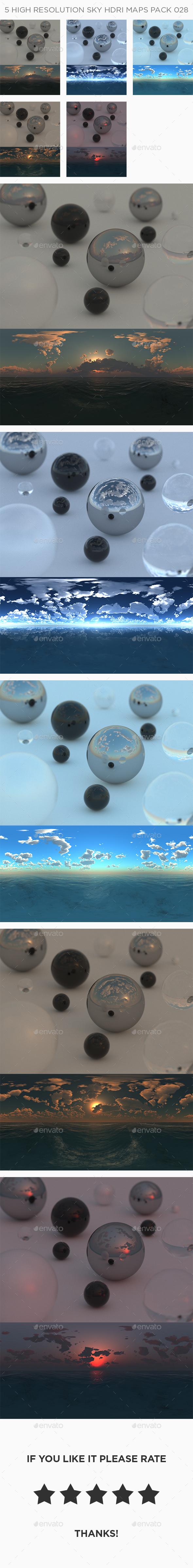 5 High Resolution Sky HDRi Maps Pack 028 - 3DOcean Item for Sale